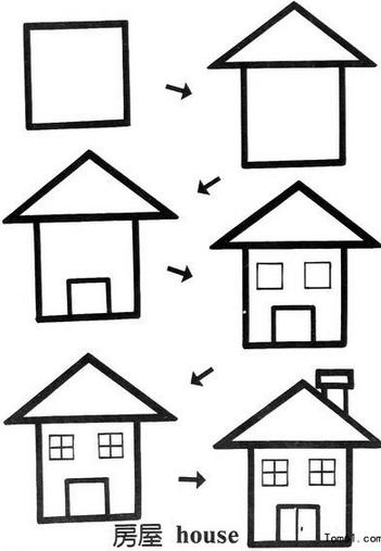 简笔画简单画:正方形简笔画12 小熊 房屋