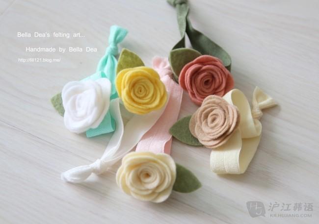 淑女必备 — diy不织布可爱玫瑰花发卡