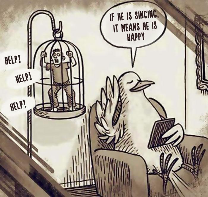 哲理漫画:若人和动物角色互换……细思恐极